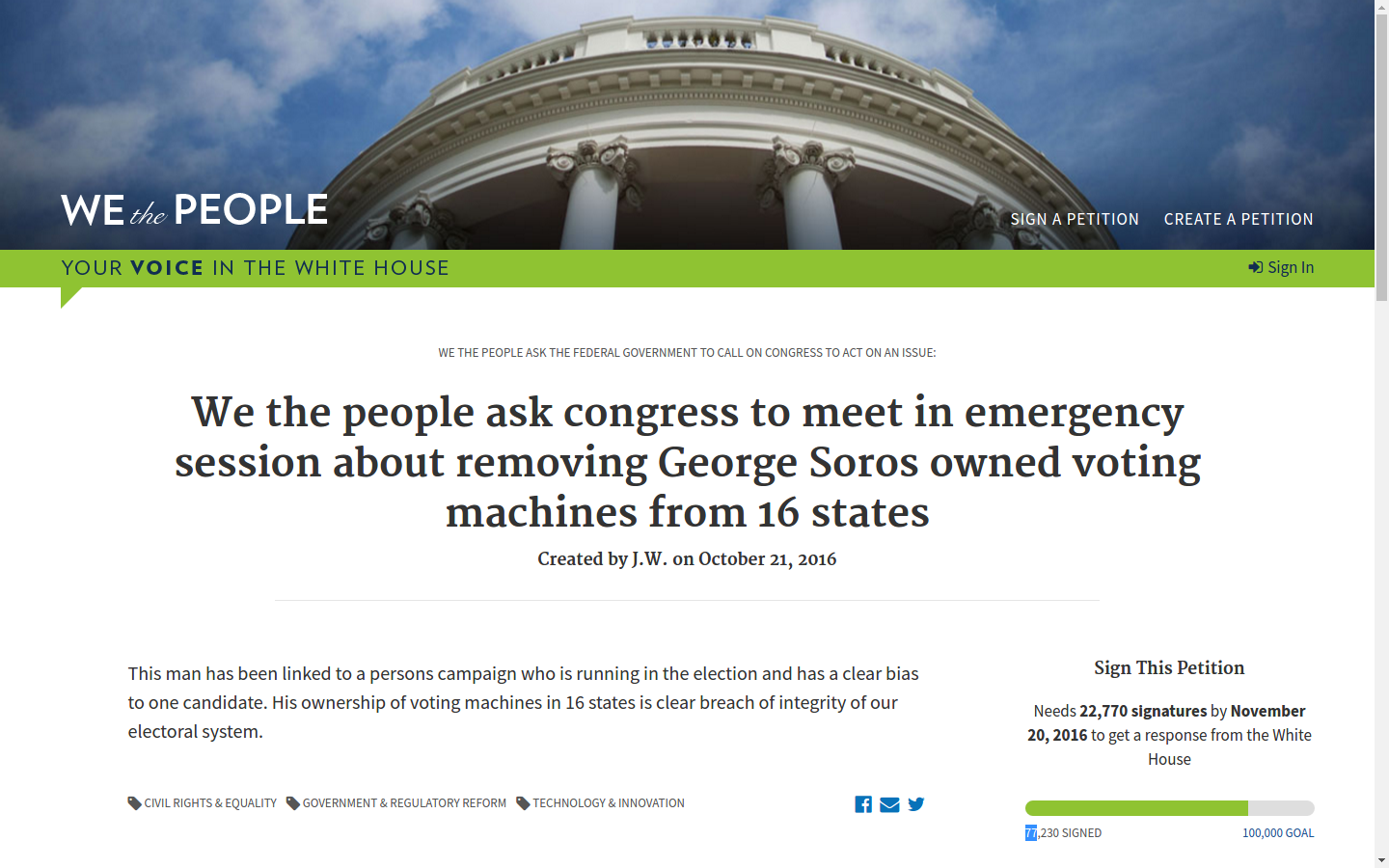 We the people ask congress to meet in emergency session about removing George Soros owned voting machines from 16 states