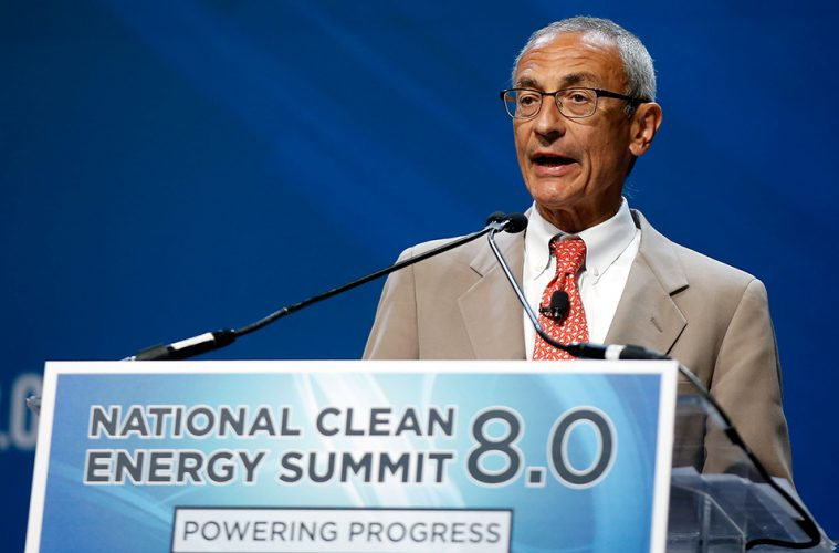 LAS VEGAS, NV - AUGUST 24: Former counselor to President Barack Obama John Podesta accepts the Clean Energy Project Founders' Award during the National Clean Energy Summit 8.0 at the Mandalay Bay Convention Center on August 24, 2015 in Las Vegas, Nevada. (Photo by Isaac Brekken/Getty Images for National Clean Energy Summit)