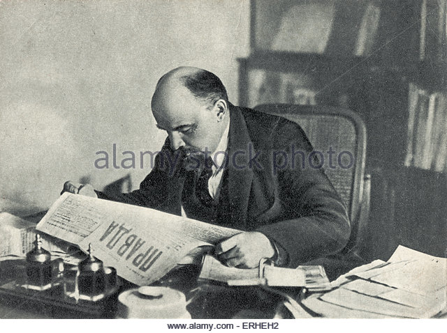 Image result for Lenin reading a copy of Pravda in 1920.