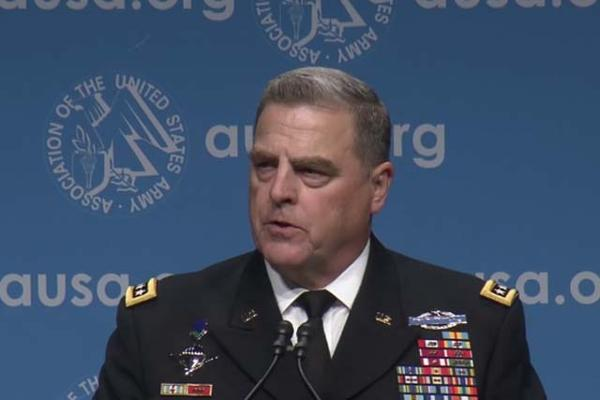 Gen. Mark A. Milley Chief of Staff United States Army speaks at the Dwight David Eisenhower Luncheon at AUSA. (Video grab of AUSA video)