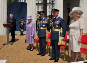 Queen Elizabeth II, the Duke of Edinburgh, Prince of Wales and the Duchess of Cornwall attend the unveiling of the Bomber Command Memorial in Green Park, London. PRESS ASSOCIATION Photo. Picture date: Thursday June 28, 2012. The memorial remembers the sacrifice and bravery of the 55,573 RAF crew who lost their lives in the Second World War. See PA story MEMORIAL Veterans. Photo credit should read: John Stillwell/PA Wire