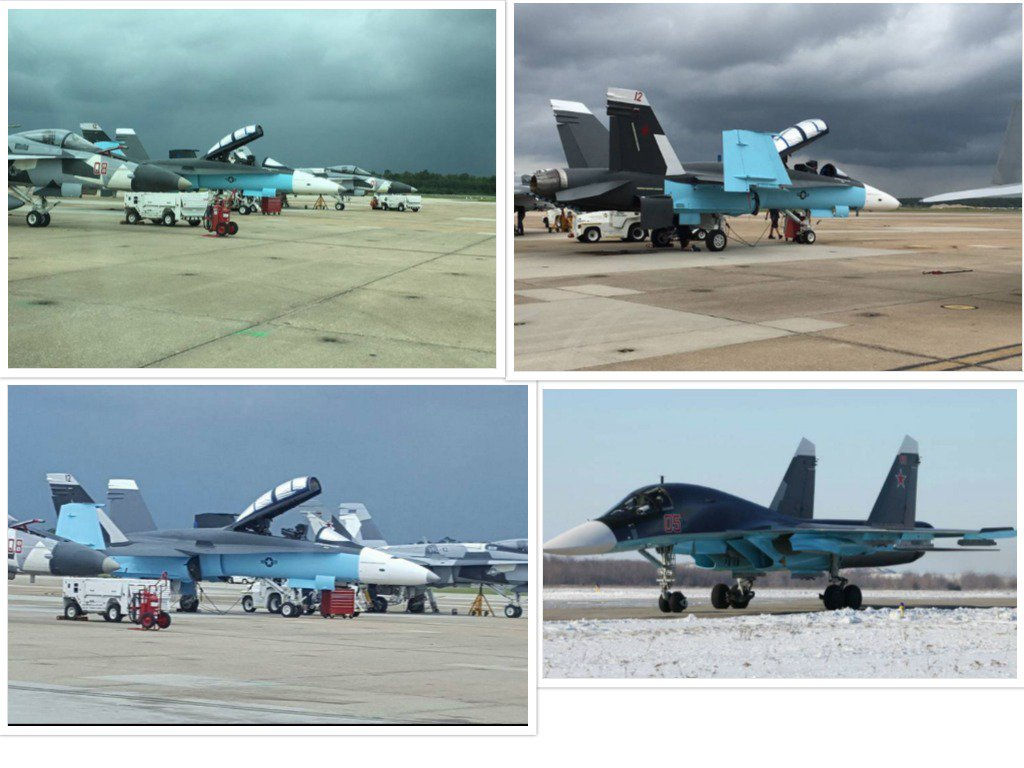 American F/A-18's painted to match the paint schemes of Russian jets in Syria