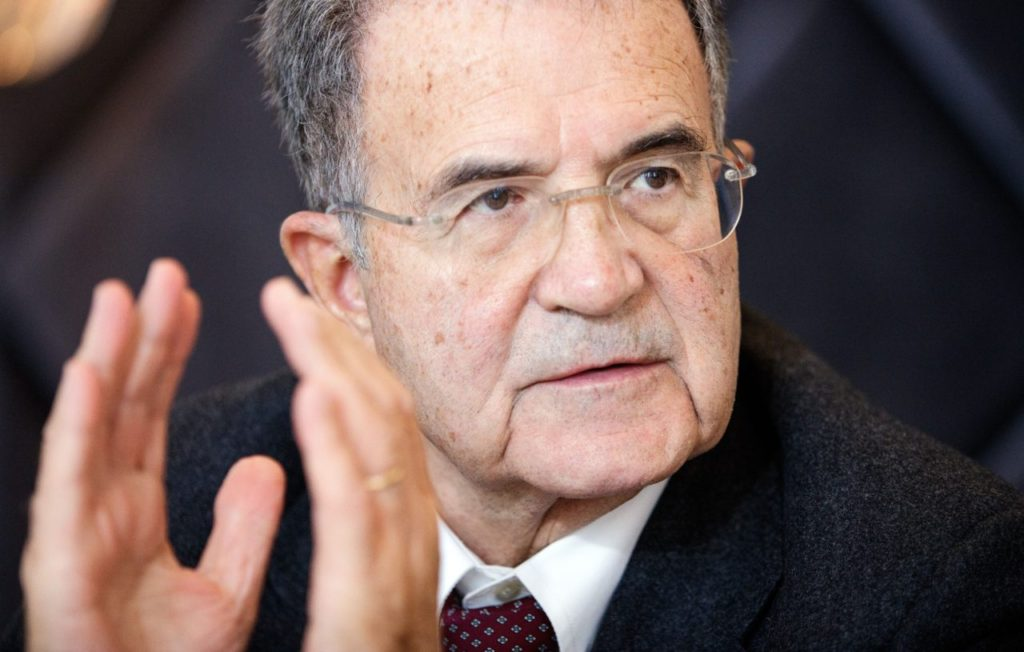 The former EU Commission president Romano Prodi speaks during the press conference
