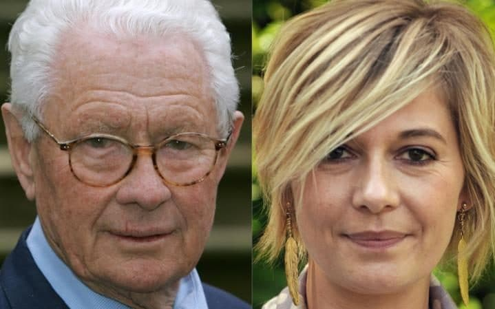David Hamilton (L) in Aschendorf, northern Germany on April 21, 2006 and French TV presenter and writer Flavie Flament