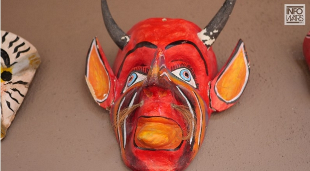 St. Hubertus ritual mask from Scalia death scene, photo credit: InfoWars.com