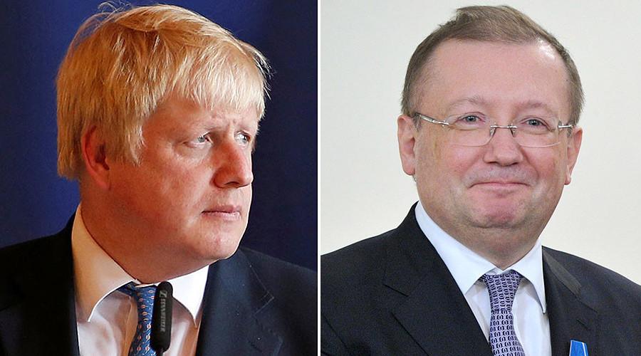 Boris Johnson and Russian ambassador to UK Alexander Yakovenko © Reuters