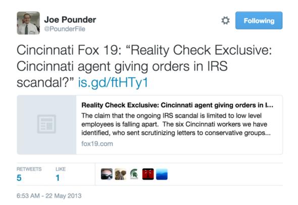 Pounder RC IRS tweet