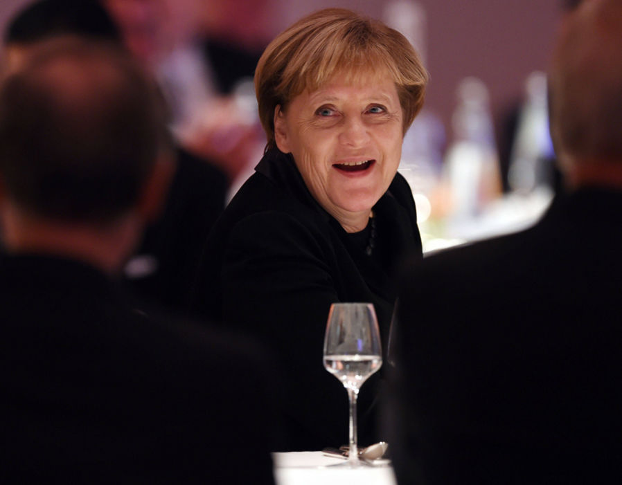 German Chancellor Angela Merkel attends the gala for the 200th anniversary of Werner von Siemens on November 29, 2016 at the historic headquarters of Siemens in Berlin