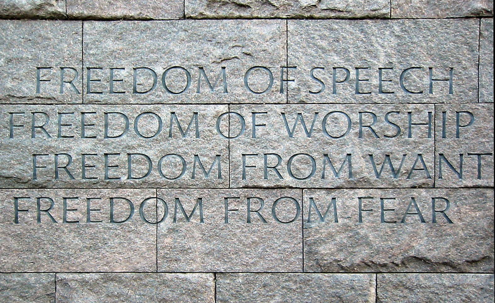 "The Four Freedoms were goals articulated by United States President Franklin D. Roosevelt on January 6, 1941. In an address known as the Four Freedoms speech (technically the 1941 State of the Union address), he proposed four fundamental freedoms that people ""everywhere in the world"" ought to enjoy: Freedom of speech Freedom of worship Freedom from want Freedom from fear"