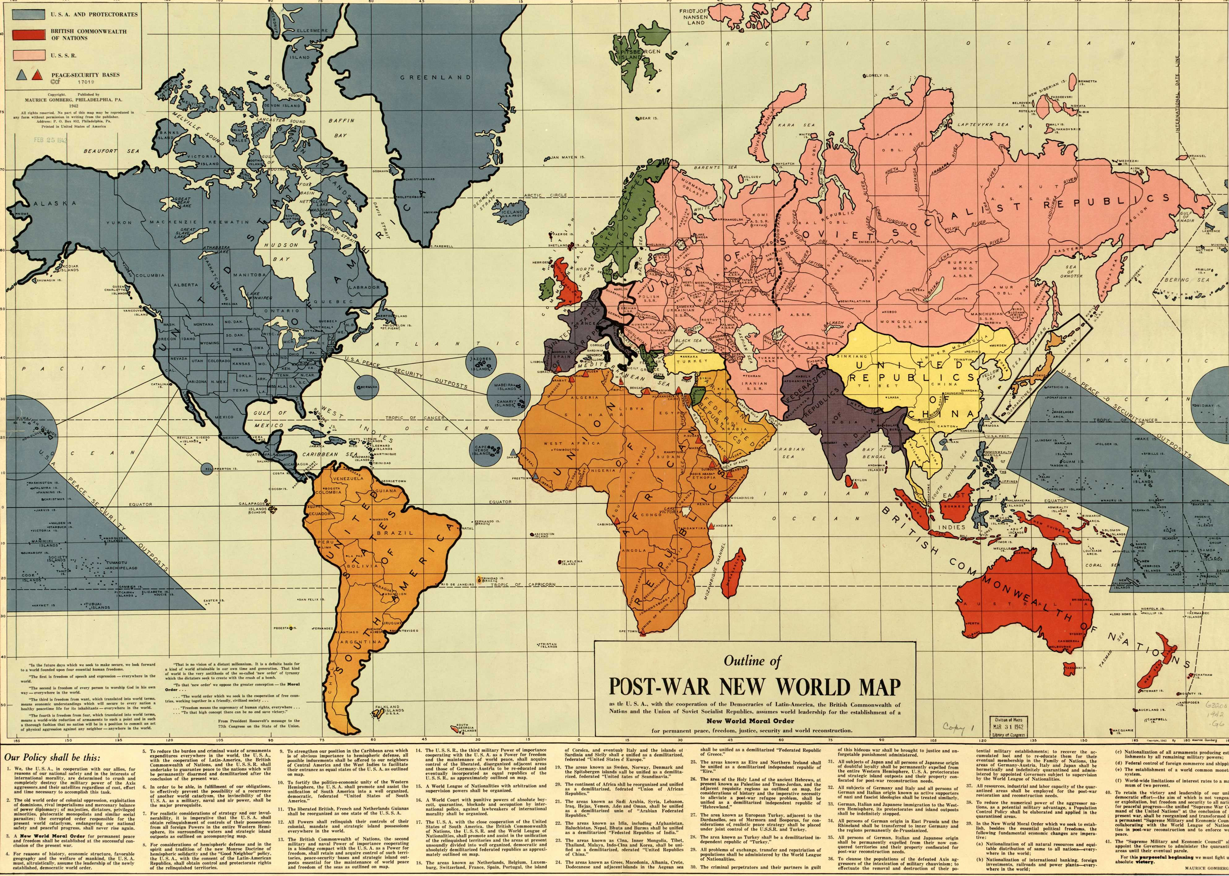 Outline of the Post-War New World Map