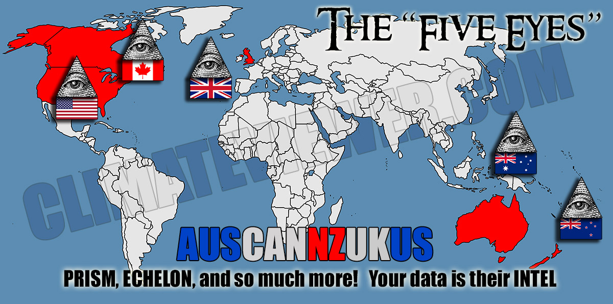 AUSCANNZUKUS - The Five Eyes - NSA GCHQ CSEC GCSB DGSE BND nwo-world-map