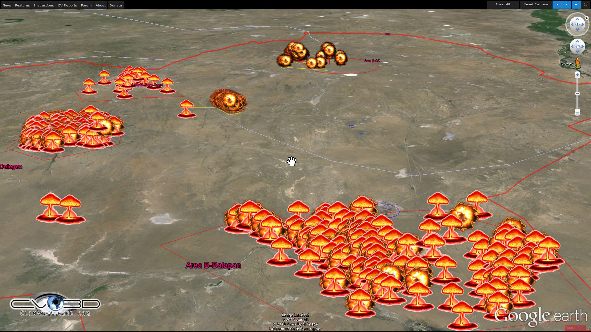 Semipalatinsk Test Site on ClimateViewer 3D