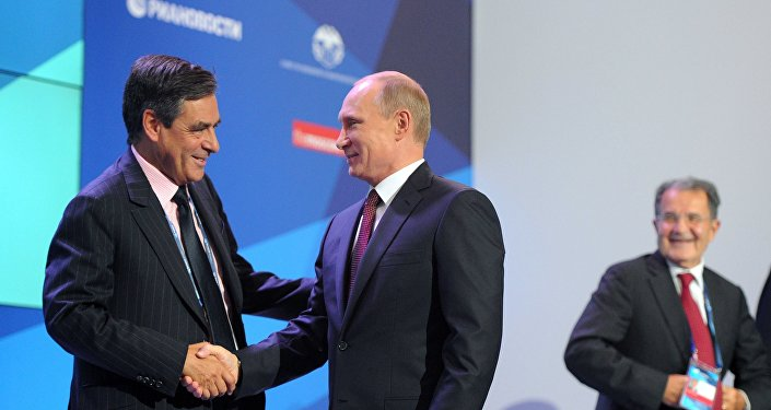 Vladimir Putin and Francois Fillon