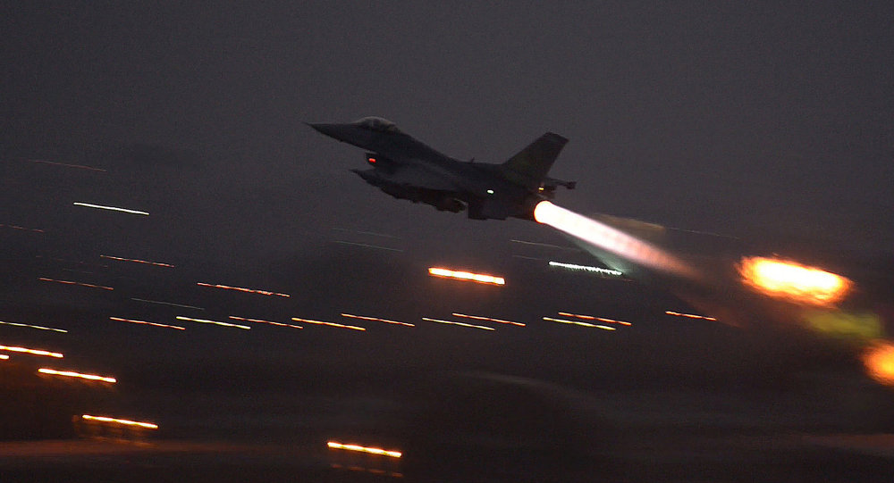 In this image provided by the US Air Force, an F-16 Fighting Falcon takes off from Incirlik Airbase, Turkey, as the US on Wednesday, Aug. 12, 2015, launched its first airstrikes by Turkey-based F-16 fighter jets against Daesh targets in Syria