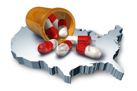 American health care symbol represented by a pill bottle with medicine capsules on a 3d map of the United States of America showing the concept of medical hospital and pharmaceutical system. Stock Photo - 10503753