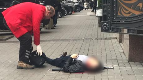 The body of Denis Voronenkov, former Russian State Duma lawmaker, is seen in central Kiev, Ukraine March 23, 2017. © Stringer