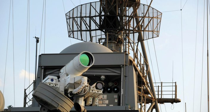 The laser weapon system (LaWS) is tested aboard the USS Ponce amphibious transport dock during an operational demonstration while deployed in the Gulf. File photo