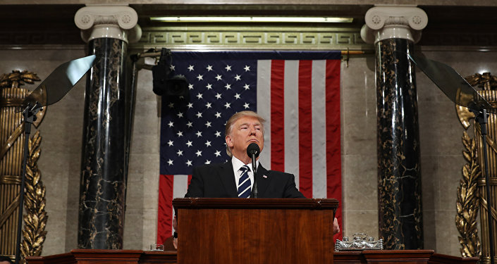 US President Donald J. Trump delivers his first address to a joint session of Congress from the floor of the House of Representatives in Washington, DC, USA, 28 February 2017