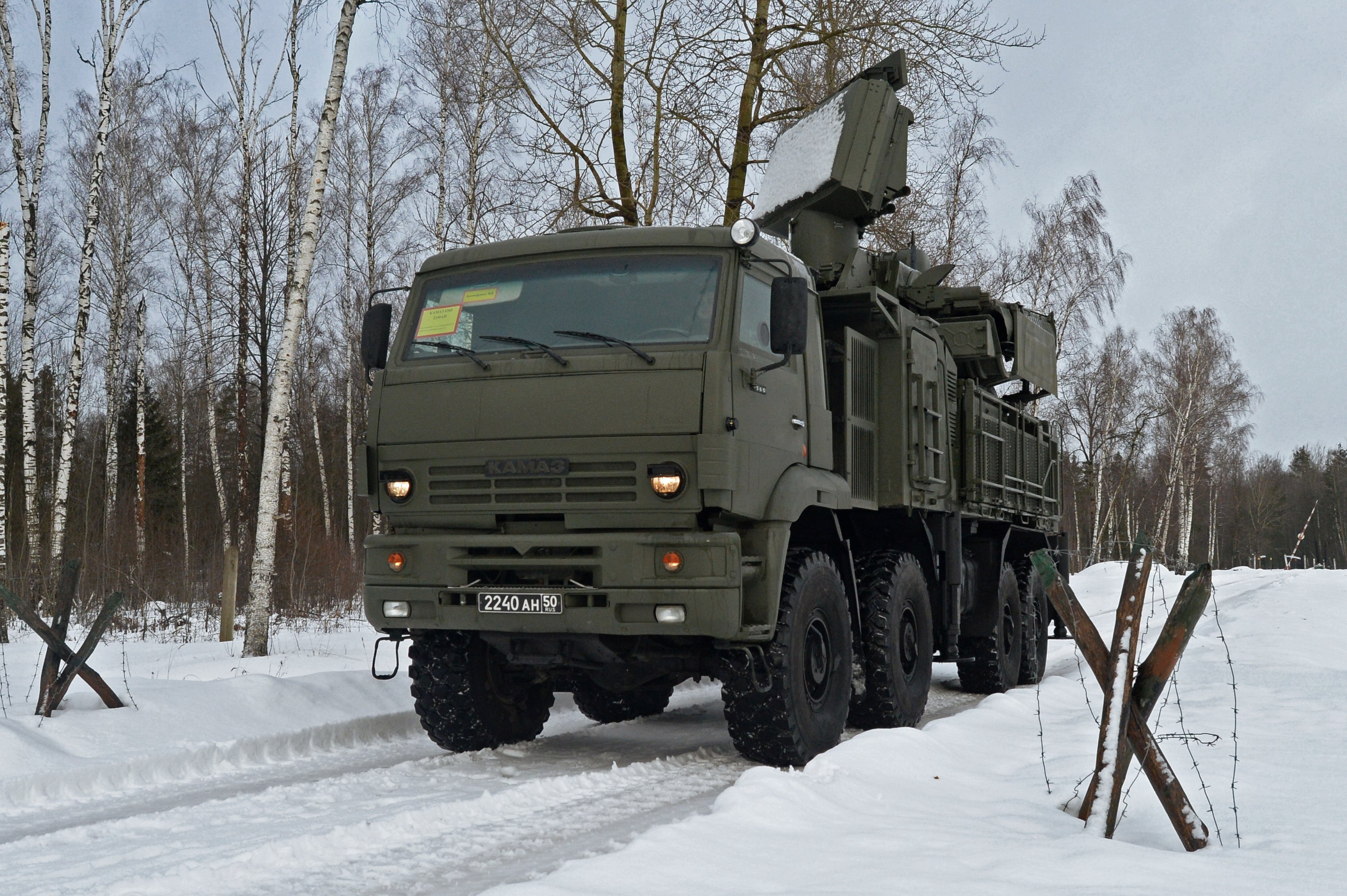 The Pantsir-S1 short-to-medium range gun-missile system on the march