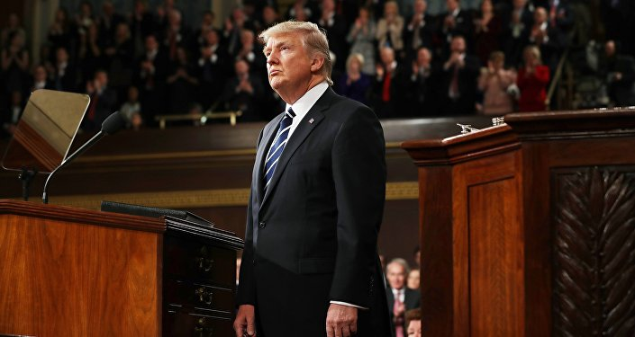 U.S. President Donald Trump delivers his first address to a joint session of Congress from the floor of the House of Representatives iin Washington, U.S., February 28, 2017