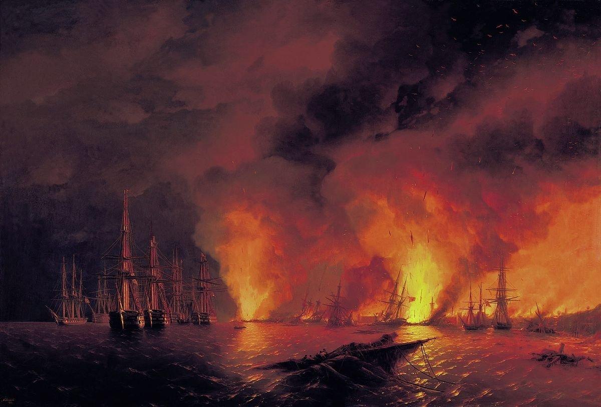 The Battle of Sinop on 18 November 1853 (Night after Battle). Ivan Aivazovsky  (1817–1900)