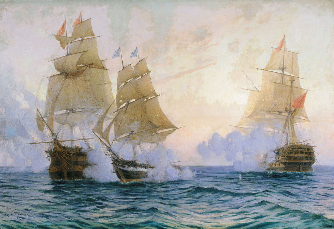 The battle of the brig Merkury with two Turkish ships, May 1829
