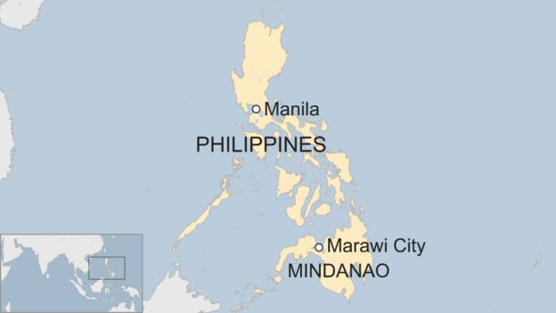 Map of Mindanao in the Philippines