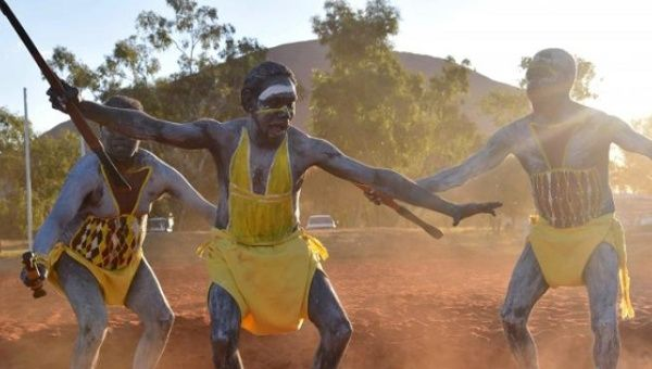Performers from East Arnhem Land dance during the opening ceremony for the National Indigenous Constitutional Convention, a three day conference designed to come up with a consensus response on how indigenous people should be recognized in Australia