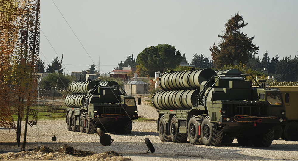 The S-400 on combat duty in Latakia, Syria ensuring the safety of the Russian air group. The system was deployed after a Turkish Air Force jet shot down a Russian Su-24M bomber jet flying a combat mission against Islamist militants in November 2015.