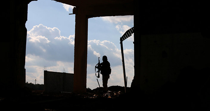 A Free Syrian Army fighter carries his weapon as he stands on a damaged building, in the east of the rebel-held town of Dael, in Deraa Governorate, Syria January 3, 2017.