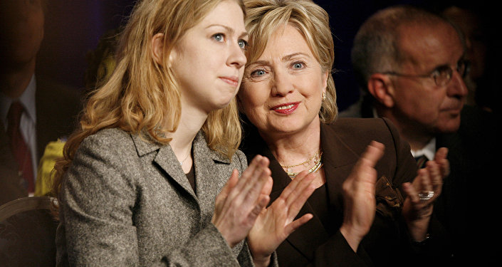 Chelsea Clinton, left, and her mother, former Democratic presidential candidate Hillary Clinton