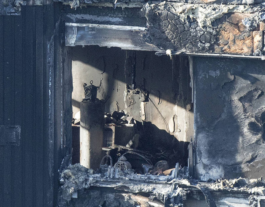 A view inside the Grenfell Tower in west London after a fire engulfed the 24-storey building