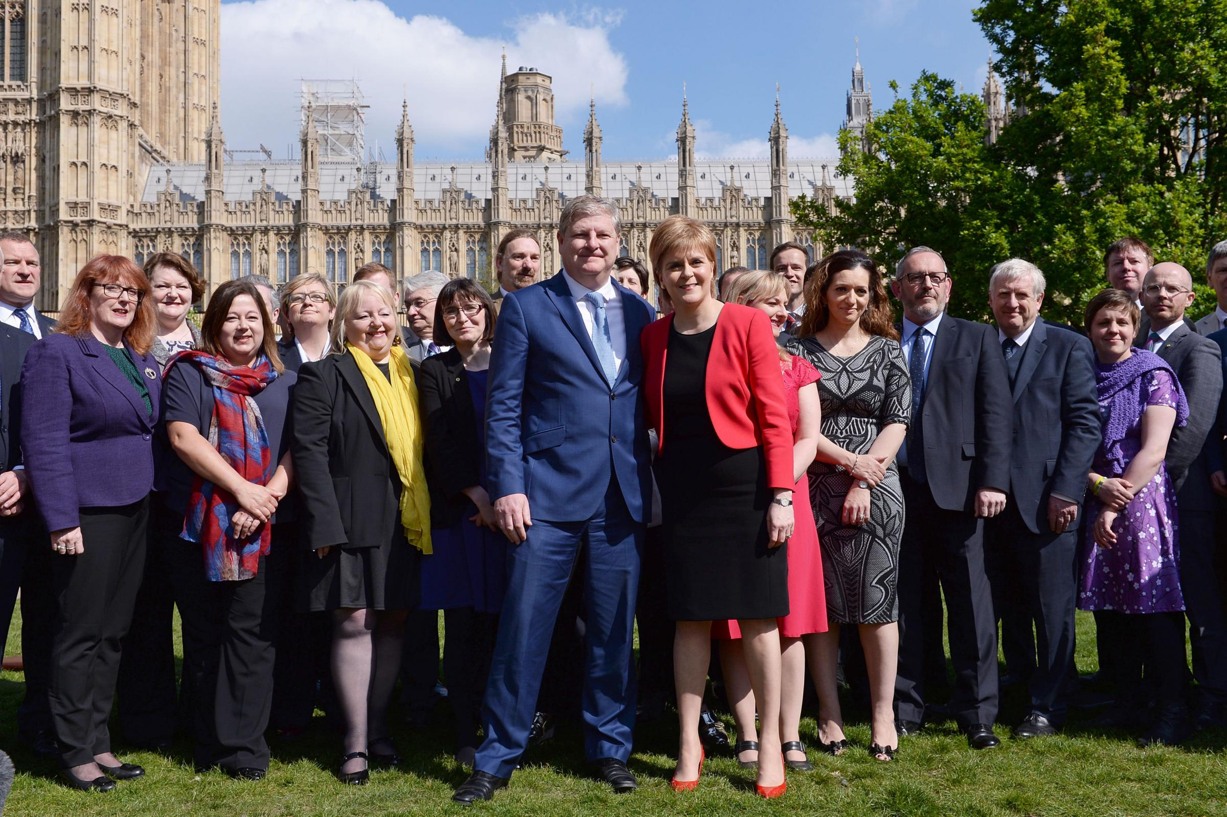 Angus Robertson and Nicola Sturgeon with SNP MPs at Westminster