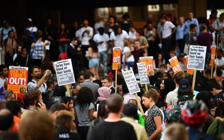 The scene outside Kensington Town Hall on Friday