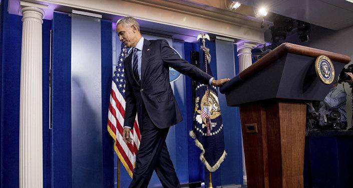President Barack Obama in the White House Press Briefing Room