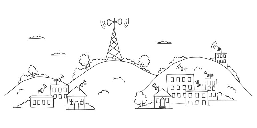 Transmission tower on landscape with wireless signal waves