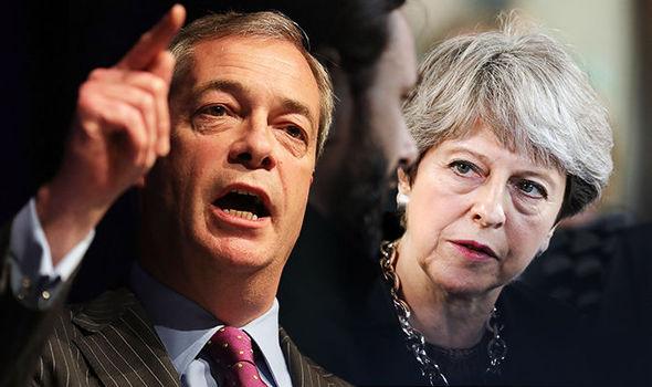 Theresa May and Nigel Farage