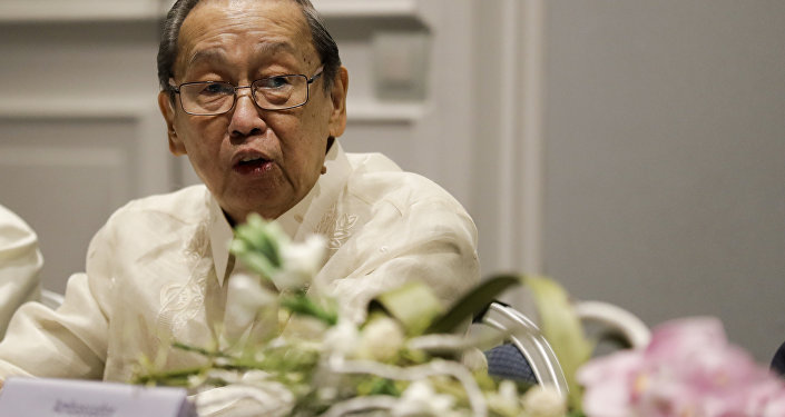 National Democratic Front of the Philippines, NDFP, leader Jose Maria Sison delivers his speech during the formal opening of the Philippines peace talks in Rome, Thursday, Jan. 19, 2017.