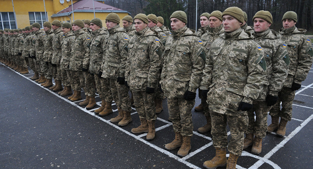 Ukrainian servicemen at the opening of a multinational training of Ukrainian Armed Forces units held on the territory of the International Peacekeeping and Security Centre of the National Hetman Petro Sahaidachnyi Land Forces Academy in Lviv Region