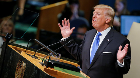 U.S. President Donald Trump addresses the 72nd United Nations General Assembly at U.N. headquarters in New York, U.S., September 19, 2017. ©   Eduardo Munoz