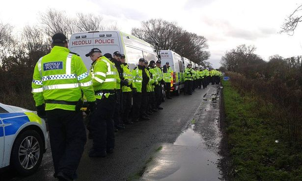 Police arrive to assist with the eviction of the Upton fracking camp in January, 2016.