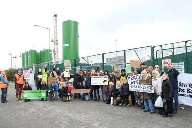 Anti-fracking protesters outside IGas premises