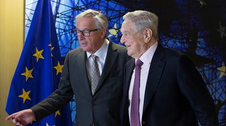 FILE PHOTO EU Commission President Jean-Claude Juncker and U.S. financier George Soros © Olivier Hoslet