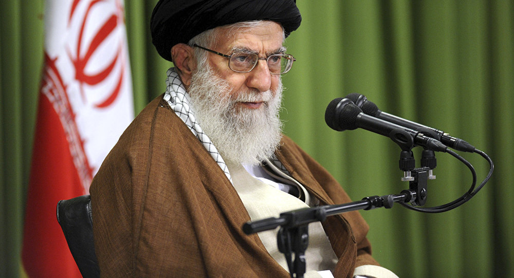 In this photo released by an official website of the office of the Iranian supreme leader, Supreme Leader Ayatollah Ali Khamenei speaks at a meeting in Tehran, Iran, Wednesday, Oct. 18, 2017
