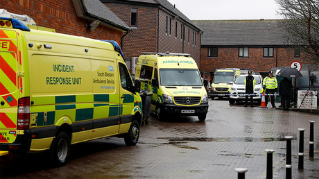 FILE PHOTO: Emergency services vehicles are parked behind a pub that was visited by former Russian intelligence officer Sergei Skripal and his daughter Yulia before they found poisoned © Peter Nicholls