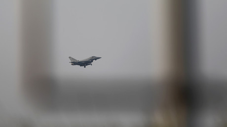 A fighter jet prepares to land at RAF Akrotiri, a military base Britain maintains on Cyprus, April 14, 2018 © Yiannis Kourtoglou