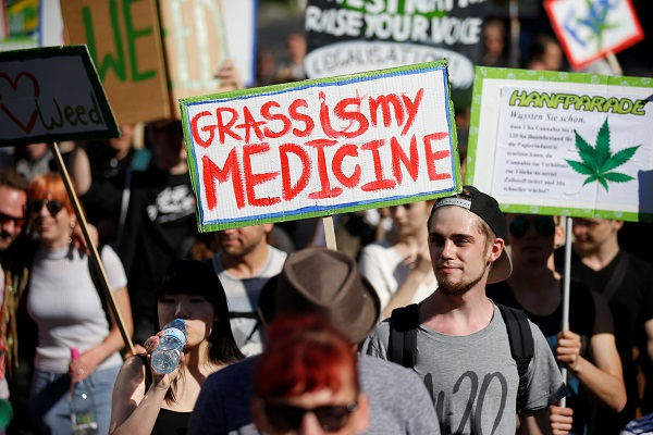 Participants attend the Global Marijuana March in Berlin, Germany.