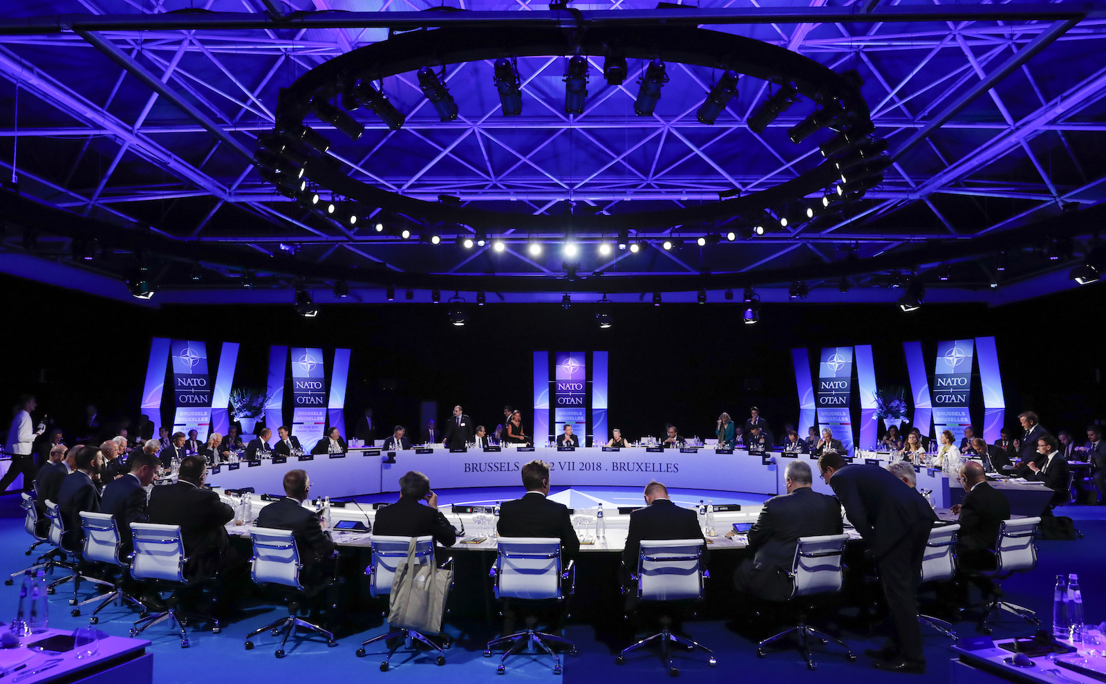 Foreign ministers attend a working dinner during the NATO Summit in Brussels on July 11, 2018. They gathered to discuss Russia, Iraq and their mission in Afghanistan. Photo: AFP/ pool/ Yves Herman