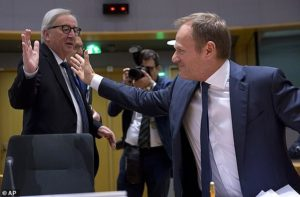 High Five!! – Juncker and Tusk celebrate trapping Theresa