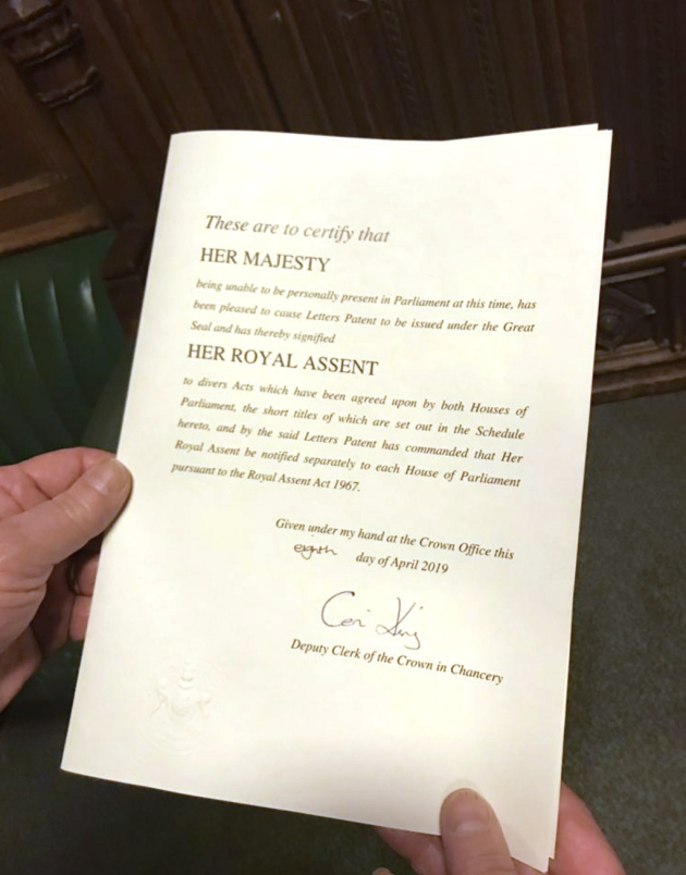 Handout photo from the Twitter page of Yvette Cooper of the Royal Assent for her cross party bill. Photograph: Yvette Cooper/Twitter/PA Wire .